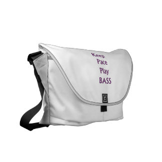Keep pace Play bass purple text Courier Bag