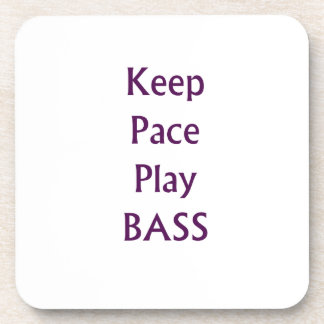 Keep pace Play bass purple text Drink Coaster