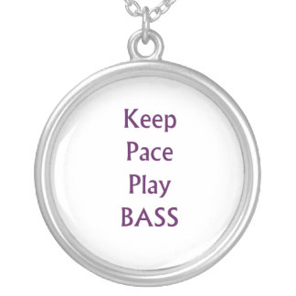 Keep pace Play bass purple text Silver Plated Necklace