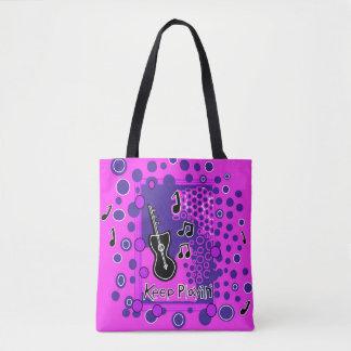 Keep Playin' Music Art All-Over-Print Tote Bag