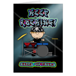 keep rocking birthday greeting card with drummer