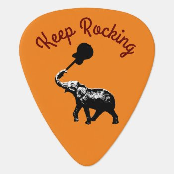 Keep Rocking  Elephant & Music  Cool Guitar Pick by mixedworld at Zazzle