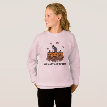 Halloween Themed Keep Scary and Spooky pumpkin with cat leaf Sweatshirt
