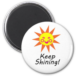 Keep Shining Happy Faced Smiling Sun 2 Inch Round Magnet