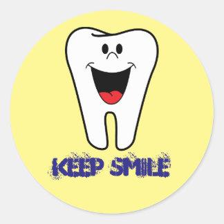 Keep Smile Classic Round Sticker, Glossy Classic Round Sticker