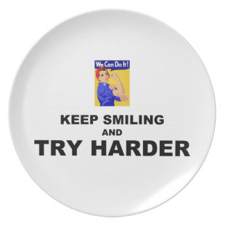 Keep Smiling And Try Harder Plate