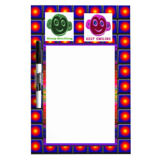 KEEP SMILING : Artistic Text n Faces Dry-Erase Board