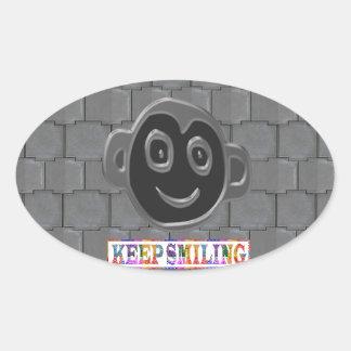 KEEP SMILING : Black Art in Color Oval Sticker