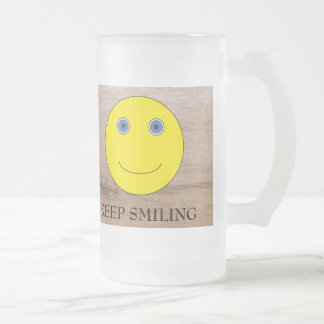 Keep Smiling Frosted Glass Beer Mug