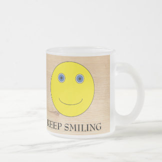 Keep Smiling Frosted Glass Coffee Mug
