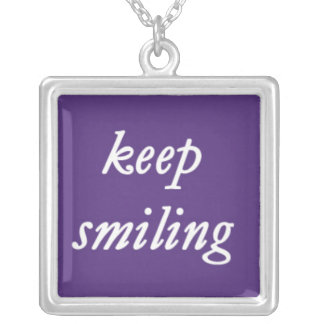 Keep Smiling on a Purple Background Silver Plated Necklace