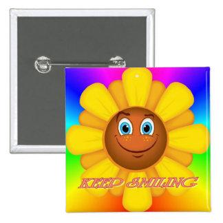 Keep Smiling Sunflower Button