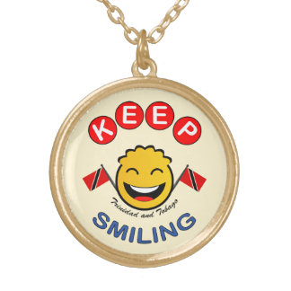 Keep Smiling Trinidad & Tobago Smiley Gold Plated Necklace