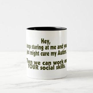 Keep Staring Cure Autism Social Skills Two-Tone Coffee Mug