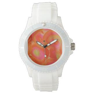 Keep stylish time in abstract orange swirls watch
