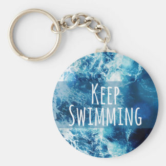 Keep Swimming Ocean Motivational Basic Round Button Keychain