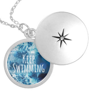 Keep Swimming Ocean Motivational Round Locket Necklace