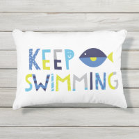 Keep Swimming Outdoor Pillow