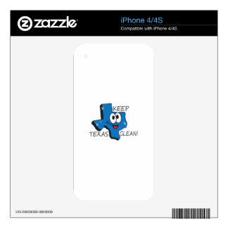 KEEP TEXAS CLEAN iPhone 4 DECAL