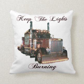 Keep The Lights Burning Trucker Throw Pillow