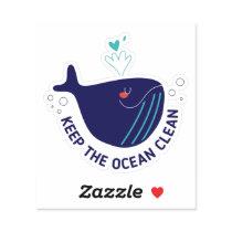 Keep the Ocean Clean Custom Shape Sticker
