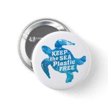 Keep the Sea Plastic Free Turtle Button
