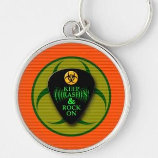 Keep Thrashin' and Rock On! Keychain
