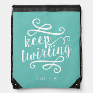Keep Twirling | Aqua & White Typography Quote Drawstring Backpack