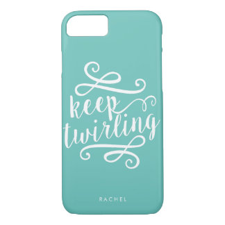 Keep Twirling | Mint & White Typography Quote iPhone 7 Case