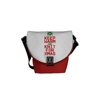 Keep Warm and Knit for Xmas Courier Bag