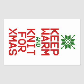 Keep Warm and Knit for Xmas Rectangular Sticker