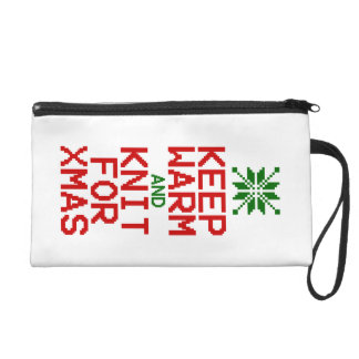Keep Warm and Knit for Xmas Wristlet Purse