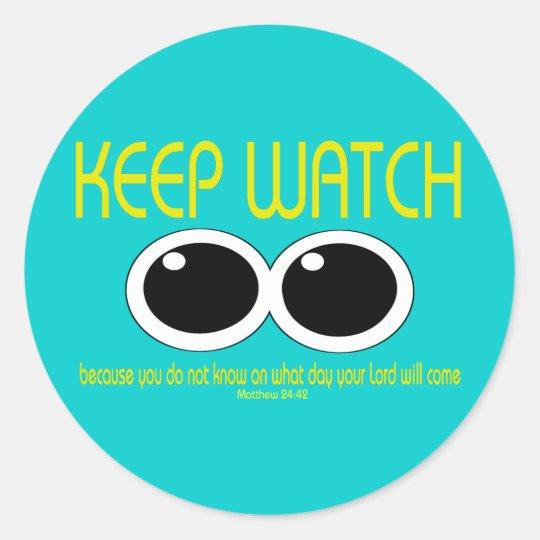 KEEP WATCH - Matt 24:42 Classic Round Sticker