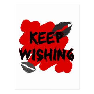 keep wishing postcard