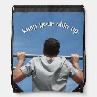 Keep Your Chin Up Drawstring Backpacks