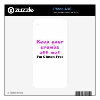 Keep Your Crumbs Off Me Im Gluten Free iPhone 4 Decals