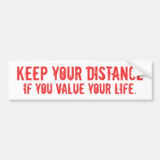 keep your distance car bumper sticker
