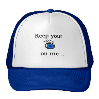 Keep your eye on me....White and Royal  Blue hat