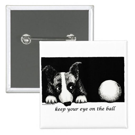 Keep your eye on the ball 2 inch square button