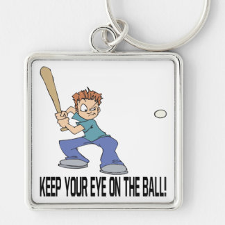 Keep Your Eye On The Ball Silver-Colored Square Keychain