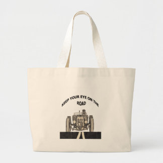 Keep your eye on the road large tote bag