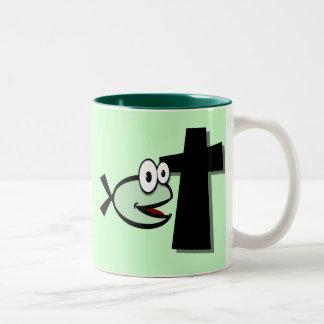 Keep Your Eyes on the Cross Two-Tone Coffee Mug