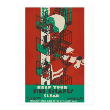 USA Themed Keep Your Fire Escapes Clear Postcard