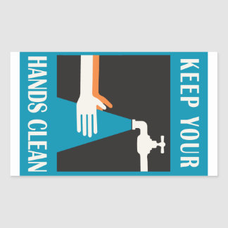 keep your hands clean rectangular sticker