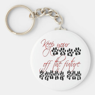 Keep your paws off the future devil dog basic round button keychain