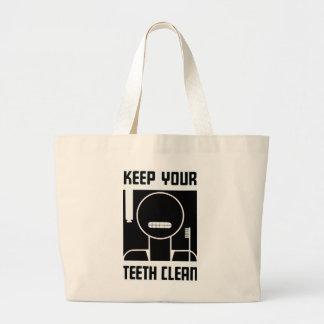 Keep Your Teeth Clean Large Tote Bag