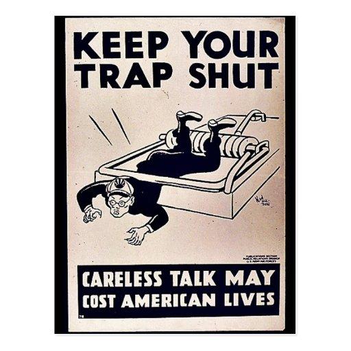 Keep Your Trap Shut Postcard