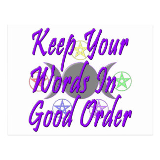 Keep Your Words In Good Order Post Cards