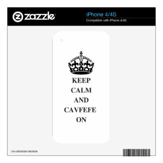 KEEPCALMANDCAVFEFE ON (1) DECALS FOR THE iPhone 4