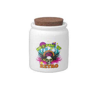 Keepin It Retro Neon Disco Crown Skull Candy Jar